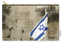 Carry-all Pouch featuring the photograph The Wailing Wall And The Flag by Yoel Koskas