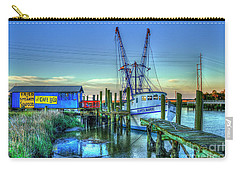 Carry-all Pouch featuring the photograph The Waiting Shrimper Tybee Island Dawn Art by Reid Callaway
