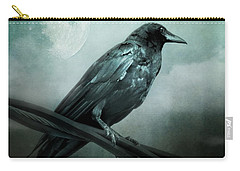 The Watcher Surreal Raven Crow Moon And Clouds Carry-all Pouch