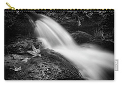 Carry-all Pouch featuring the photograph The Waterfall In Black And White  by Saija Lehtonen
