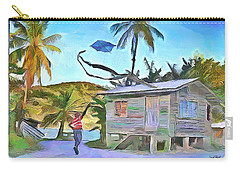 Carry-all Pouch featuring the painting The Way We Were - Flying Kite by Wayne Pascall