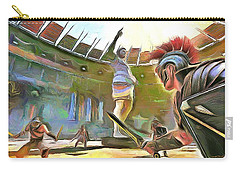 Carry-all Pouch featuring the painting The Way We Were - Gladiators by Wayne Pascall