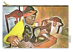 Carry-all Pouch featuring the painting The Way We Were - Grandma's Sewing Machine by Wayne Pascall