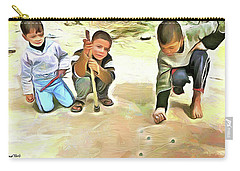 Carry-all Pouch featuring the painting The Way We Were - Pitching Marbles 2 by Wayne Pascall