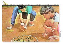 Carry-all Pouch featuring the painting The Way We Were - Pitching Marbles by Wayne Pascall