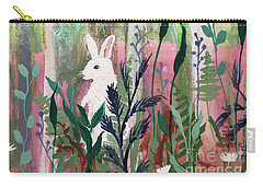 Carry-all Pouch featuring the painting The White Rabbit by Robin Maria Pedrero