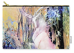 Carry-all Pouch featuring the photograph The White Stag And Mount Ushba by Anastasia Savage Ealy