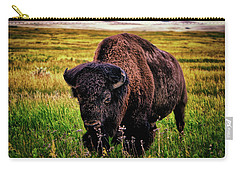 Carry-all Pouch featuring the photograph Theodore Roosevelt National Park 009 - Buffalo by George Bostian
