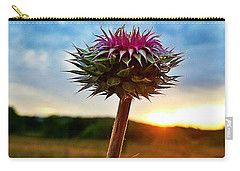 Carry-all Pouch featuring the photograph Thistle At Sunrise by Maria Urso