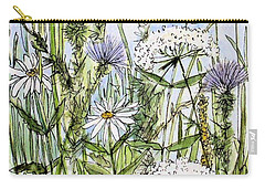 Thistles Daisies And Wildflowers Carry-all Pouch by Laurie Rohner