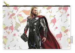Carry-all Pouch featuring the mixed media Thor Splash Super Hero Series by Movie Poster Prints