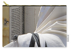 Carry-all Pouch featuring the photograph Thora Reading At The Western Wall by Yoel Koskas