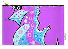 Carry-all Pouch featuring the painting Thoughts And Colors Series Seahorse by Veronica Minozzi
