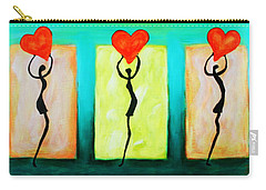 Three Abstract Figures With Hearts Carry-all Pouch