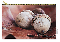Three Acorns And Autumn Oak Leaves Carry-all Pouch
