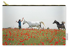Carry-all Pouch featuring the photograph Three At The Poppies' Field by Dubi Roman