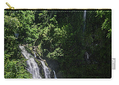 Three Bear Falls Or Upper Waikani Falls On The Road To Hana, Maui, Hawaii Carry-all Pouch by Peter Dang