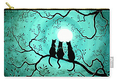 Three Black Cats Under A Full Moon Carry-all Pouch by Laura Iverson