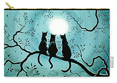 Three Black Cats Under A Full Moon Silhouette Carry-all Pouch by Laura Iverson