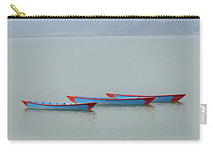Three Blue Boats On Phewa Lake In Pokhara Carry-all Pouch