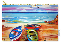 Three Boats And A Seagull Carry-all Pouch