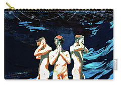 Carry-all Pouch featuring the painting Three Boys, Hear No Evil, Speak No Evil, See No Evil by Rene Capone