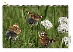 Three Buckeye Butterflies On Wildflowers Carry-all Pouch