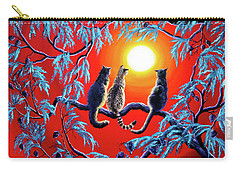 Three Cats In A Bright Red Sunset Carry-all Pouch by Laura Iverson