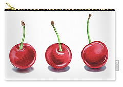 Carry-all Pouch featuring the painting Three Cherries Watercolor Painting by Irina Sztukowski