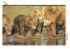 Three Cubs And Mother Drinking At The River Carry-all Pouch