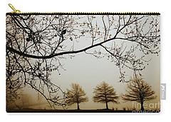 Carry-all Pouch featuring the photograph Three Cypress In The Mist by Iris Greenwell