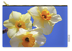 Carry-all Pouch featuring the photograph Three Daffodils by Judy Vincent