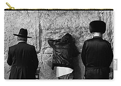 Carry-all Pouch featuring the photograph Three Different Selichot Prayers At The Kotel by Yoel Koskas
