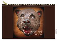 Carry-all Pouch featuring the photograph Three  Dimensional 1953 Folk Art Bear Head by Peter Gumaer Ogden