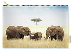 Three Elephant In Tall Grass In Africa Carry-all Pouch