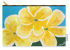 Three Flowers On Blue Carry-all Pouch