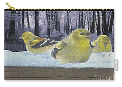 Three Goldfinches In Winter Carry-all Pouch by Janette Boyd