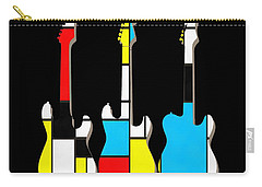 Three Guitars Modern Tee Carry-all Pouch by Edward Fielding