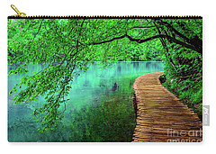 Tree Hanging Over Turquoise Lakes, Plitvice Lakes National Park, Croatia Carry-all Pouch