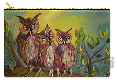 Three Hoots -hooters - Owls  Carry-all Pouch by Jan Dappen