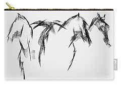 Three Horse Sketch Carry-all Pouch by Frances Marino