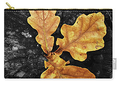 Three Leaves On Black Carry-all Pouch