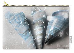 Three Little Trumpet Snail Shells Over Gray Carry-all Pouch