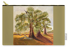Three Live Oaks With Spanish Moss In A Florida Cow Pasture Carry-all Pouch