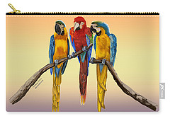 Three Macaws Hanging Out Carry-all Pouch by Thomas J Herring