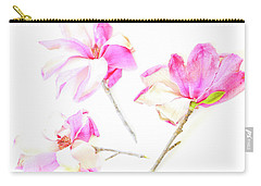 Three Magnolia Flowers Carry-all Pouch by Linde Townsend