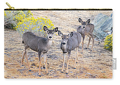Carry-all Pouch featuring the photograph Three Mule Deer In High Desert by Frank Wilson