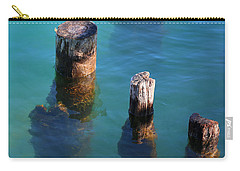 Three Old Pilings In Sun Carry-all Pouch by Mary Bedy