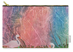 Carry-all Pouch featuring the painting Three Pink Flamingos by Jackie Mueller-Jones