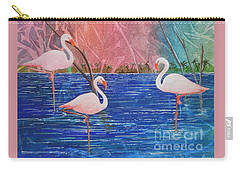 Three Pink Flamingos Carry-all Pouch